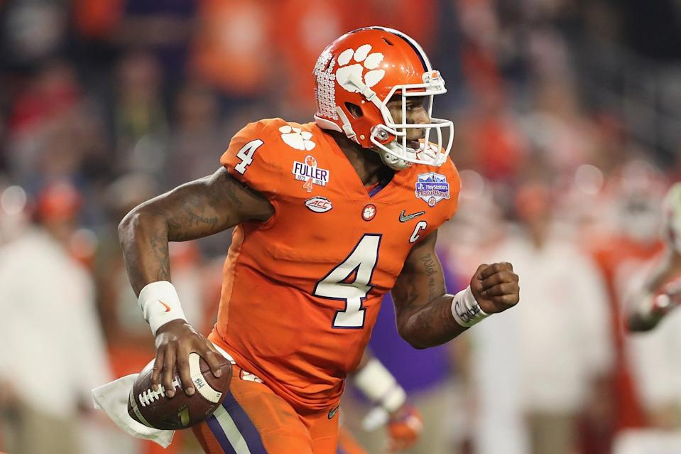Clemson QB Deshaun Watson could rise again with a big game vs. Alabama. (Getty Images)