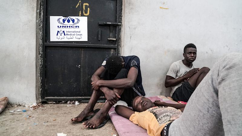 Illegal immigrants are held at a detention center in Zawiyah, Libya, on Monday. (TAHA JAWASHI via Getty Images)