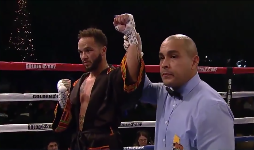 Pat Manuel made his professional debut on Saturday and picked up his first win, becoming the first transgender male boxer to fight professionally in the United States. (Twitter.com/GoldenBoyBoxing)