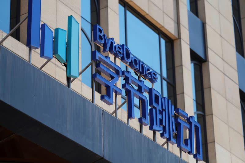 FILE PHOTO: The logo of Bytedance, which owns short video app TikTok, is seen at its office in Beijing