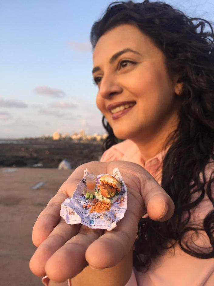 Shirali Patel with her miniature sculptures