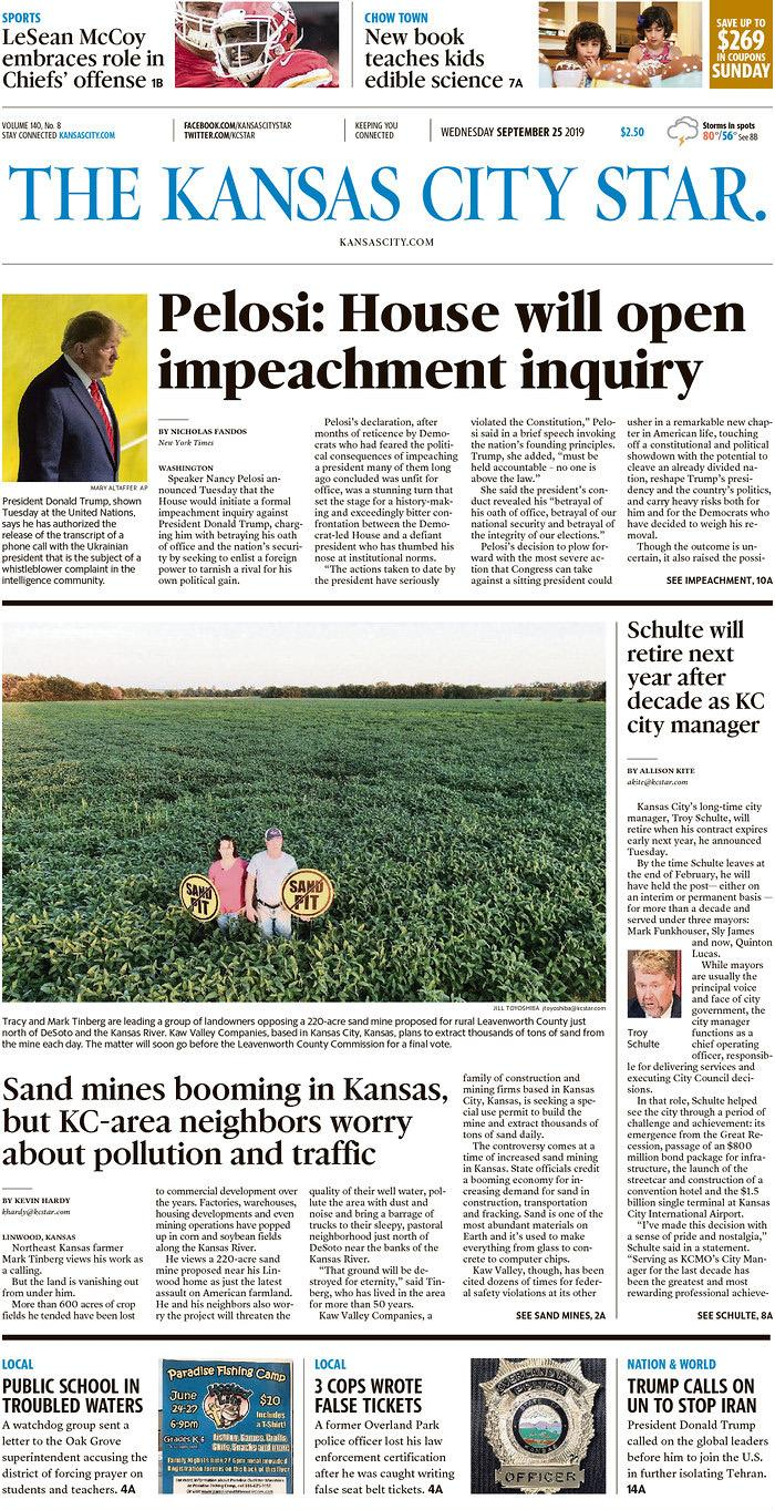 Pelosi: House will open impeachment inquiry The Kansas City Star Published in Kansas City, Mo. USA. (newseum.org)