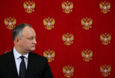FILE PHOTO: Moldovan President Igor Dodon attends a news conference after a meeting with his Russian counterpart Vladimir Putin at the Kremlin in Moscow, Russia, January 17, 2017. REUTERS/Sergei Ilnitsky/Pool/File Photo