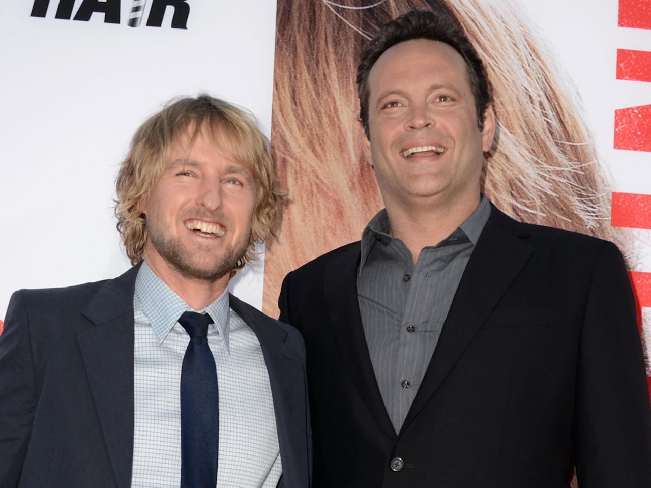 "WESTWOOD, CA - MAY 29:  Actors Owen Wilson (L) and Vince Vaughn arrive at the premiere of Twentieth Century Fox's ""The Internship"" at Regency Village Theatre on May 29, 2013 in Westwood, California.  (Photo by Kevin Winter/Getty Images)"