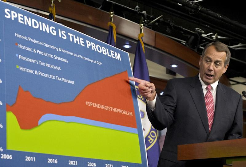 """House Speaker John Boehner of Ohio points to a chart to emphasize his talking point that government spending complicates the negotiations on avoiding the so-called """"fiscal cliff,"""" during a news conference on Capitol Hill in Washington, Thursday, Dec. 13, 2012. Boehner is insisting that President Barack Obama wants far more in tax increases than spending reductions and appears willing to walk the economy """"right up to the fiscal cliff."""" (AP Photo/J. Scott Applewhite)"""