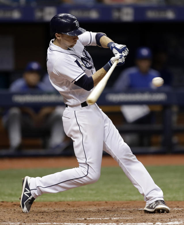 nTampa Bay Rays' Matt Duffy connects for the game-winning RBI single off Toronto Blue Jays relief pitcher Ryan Tepera during the ninth inning of a baseball game Wednesday, June 13, 2018, in St. Petersburg, Fla. The Rays won the game 1-0. (AP Photo/Chris O'Meara)