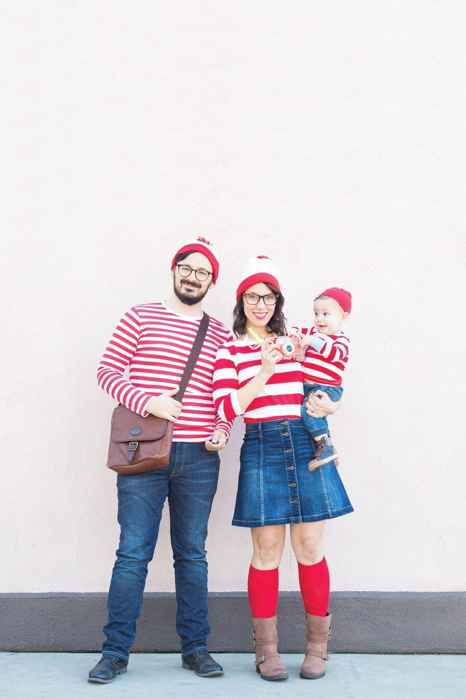 """<p>A great group costume or a perfectly sufficient solo option that doesn't require much. Pair a denim skirt with a red-and-white striped shirt, then add a matching hat and some specs. </p><p><a class=""""link rapid-noclick-resp"""" href=""""https://lovelyindeed.com/wheres-waldo-costume-family-halloween/"""" rel=""""nofollow noopener"""" target=""""_blank"""" data-ylk=""""slk:GET THE TUTORIAL"""">GET THE TUTORIAL</a></p><p><a class=""""link rapid-noclick-resp"""" href=""""https://www.amazon.com/Long-Sleeve-Striped-Tee-Stripes/dp/B07TYY3SJL?tag=syn-yahoo-20&ascsubtag=%5Bartid%7C10072.g.33547559%5Bsrc%7Cyahoo-us"""" rel=""""nofollow noopener"""" target=""""_blank"""" data-ylk=""""slk:SHOP SHIRT"""">SHOP SHIRT</a></p>"""