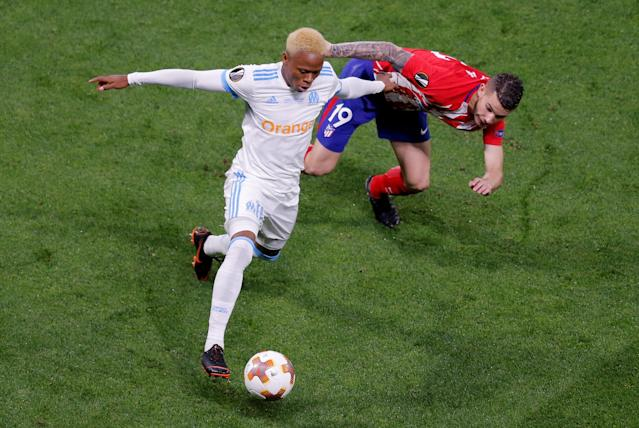 Soccer Football - Europa League Final - Olympique de Marseille vs Atletico Madrid - Groupama Stadium, Lyon, France - May 16, 2018 Marseille's Clinton Njie in action with Atletico Madrid's Lucas Hernandez REUTERS/Vincent Kessler