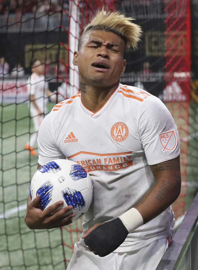 Atlanta United forward Josef Martinez reacts to just missing a goal against Sporting Kansas City during the first half of an MLS soccer match Wednesday, May 9, 2018, in Atlanta. (Curtis Compton/Atlanta Journal-Constitution via AP)
