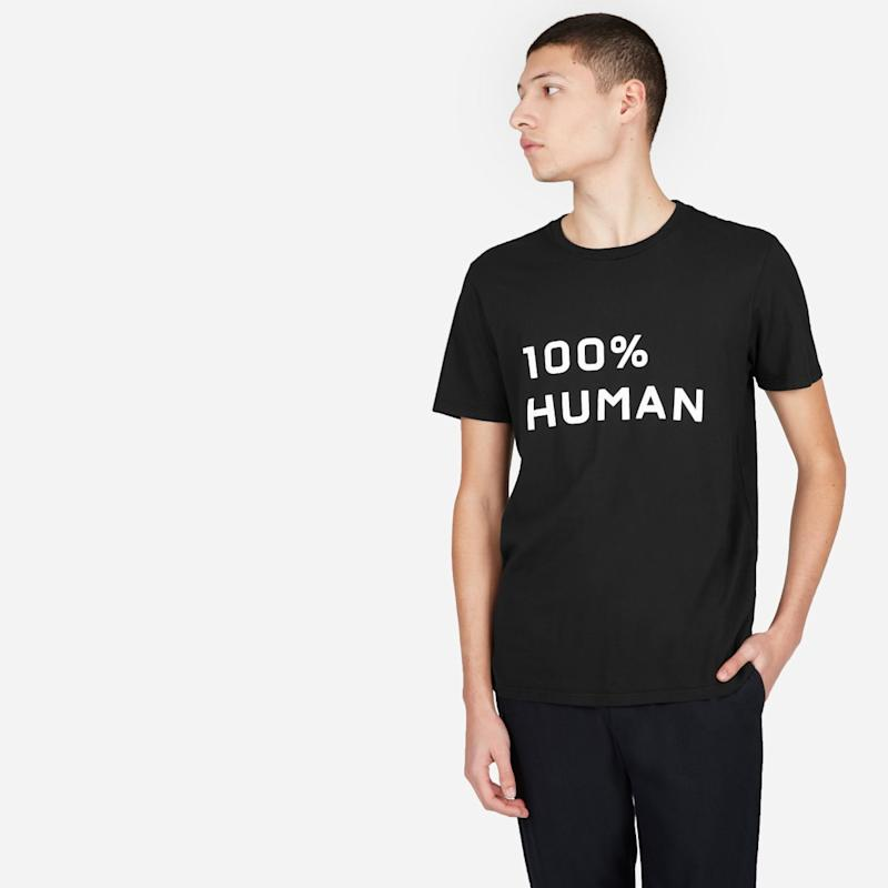 Everlane is donating all profits from their 100% Human collection to Feed America's COVID-19 response fund.