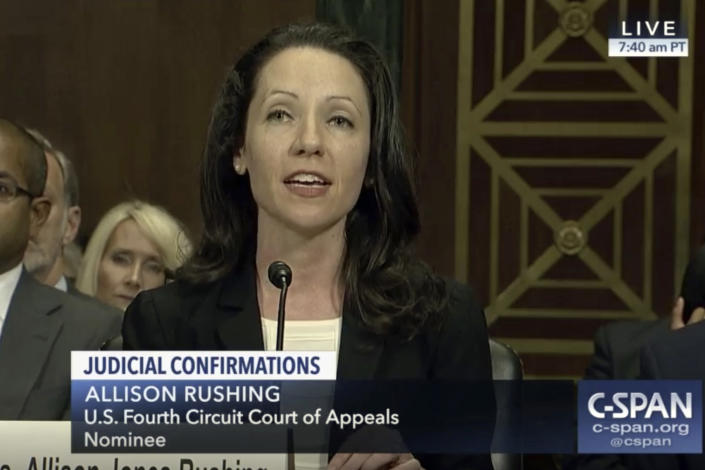 In this image from video provided by C-SPAN, Allison Jones Rushing speaks during her confirmation hearing before the Senate Judiciary Committee to be a judge on the U.S. Fourth Circuit Court of Appeals on Capitol Hill in Washington, on March 21, 2019. (C-SPAN via ap)