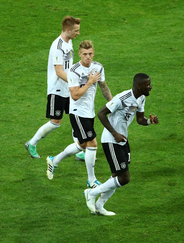 Soccer Football - World Cup - Group F - Germany vs Sweden - Fisht Stadium, Sochi, Russia - June 23, 2018 Germany's Toni Kroos celebrates scoring their second goal REUTERS/Hannah McKay