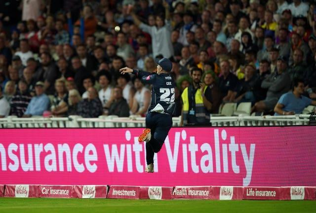 Jordan Cox first produced heroics with the bat and in the field to help Kent Spitfires win the Vitality Blast, palming the ball back into play from the boundary for team-mate Matt Milnes to catch and dismiss Somerset's Lewis Gregory