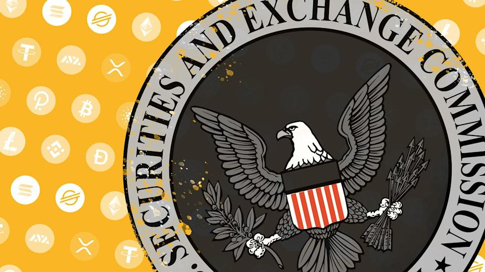 SEC logo over pattern of cryptocurrency icons