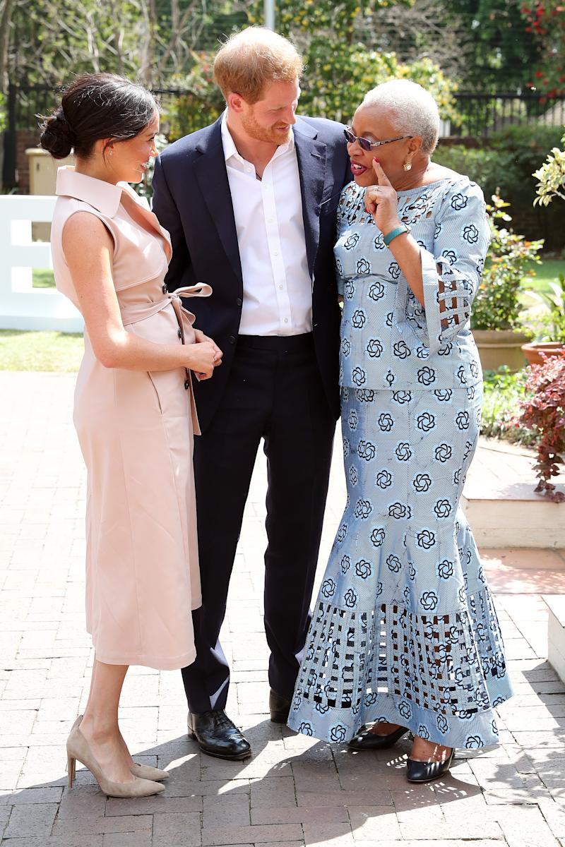 The Duke and Duchess of Sussex with Graça Michal. (Photo by Chris Jackson-Pool/Getty Images)