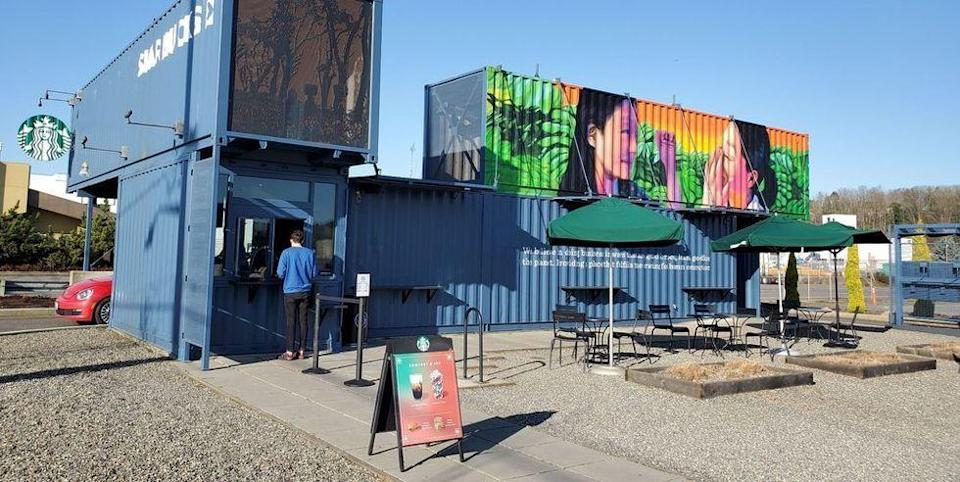 """<p><a href=""""https://www.yelp.com/biz/starbucks-tukwila-4"""" rel=""""nofollow noopener"""" target=""""_blank"""" data-ylk=""""slk:This shipping container, er, Starbucks"""" class=""""link rapid-noclick-resp"""">This shipping container, er, Starbucks</a>, which is actually made of <em>four</em> giant shipping containers, is designed to pay homage to the nearby Seattle shipyards.</p>"""