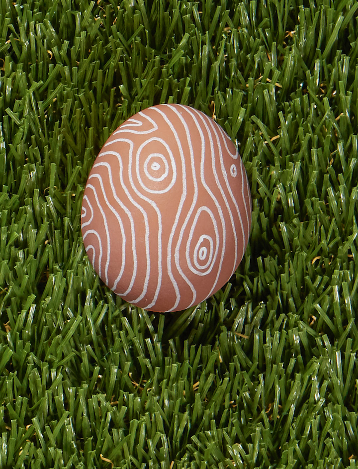 "<p>The fun part about this design idea is that you don't need to dye your eggs to make it happen (although you can): Start with naturally brown eggs, then sketch a wood-grain pattern with a white paint pen.</p><p><a class=""link rapid-noclick-resp"" href=""https://www.amazon.com/Sharpie-Permanent-Paint-Marker-Point/dp/B00584Q1O2?tag=syn-yahoo-20&ascsubtag=%5Bartid%7C10050.g.1282%5Bsrc%7Cyahoo-us"" rel=""nofollow noopener"" target=""_blank"" data-ylk=""slk:SHOP WHITE PAINT PENS"">SHOP WHITE PAINT PENS</a></p>"
