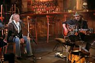 """<p>The country legends played a stripped-down set at Nashville's iconic Bluebird Cafe, performing Stapleton's ode to his late dog, """"Maggie's Song."""" Stapleton's wife Morgane was supposed to sing with him, but had to <a href=""""https://people.com/country/acm-awards-2021-morgane-stapleton-to-miss-performance-doula-commitment-miranda-lambert-replaces/"""" rel=""""nofollow noopener"""" target=""""_blank"""" data-ylk=""""slk:bow out last minute"""" class=""""link rapid-noclick-resp"""">bow out last minute</a> due to a """"prior doula commitment."""" </p>"""
