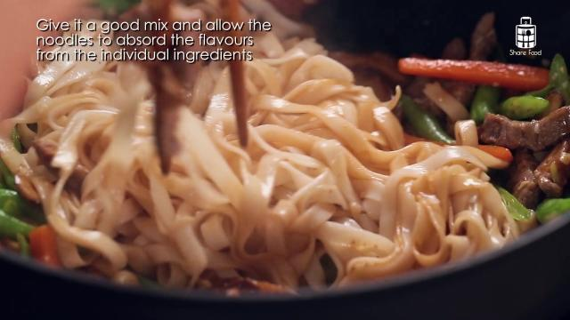 Mixing ingredients with chopsticks