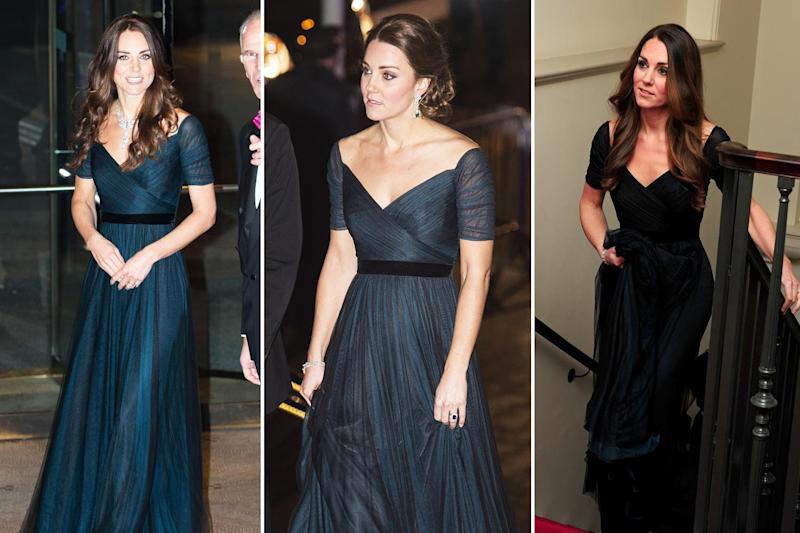 Kate Middleton wearing a black Jenny Packham dress in February 2014, December 2014 and October 2013 (Getty Images)