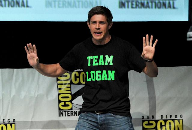 "SAN DIEGO, CA - JULY 19: Actor Chris Lowell speaks onstage at the ""Veronica Mars"" special video presentation and Q&A during Comic-Con International 2013 at San Diego Convention Center on July 19, 2013 in San Diego, California. (Photo by Kevin Winter/Getty Images)"