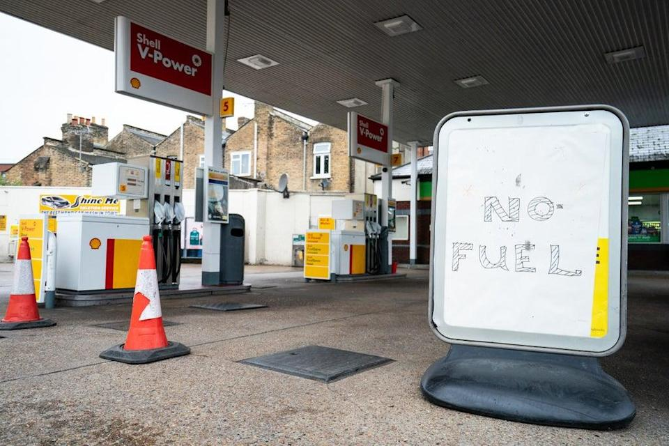 A 'no fuel' sign on the forecourt of a petrol station in London (Dominic Lipinski/PA) (PA Wire)