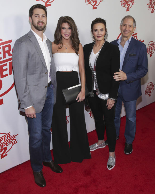Lynda Carter with her family — son James Altman, daughter Jessica, and husband Robert A. Altman — at the NYC premiere of <em>Super Troopers 2</em>. (Photo: Brent N. Clarke/Invision/AP)