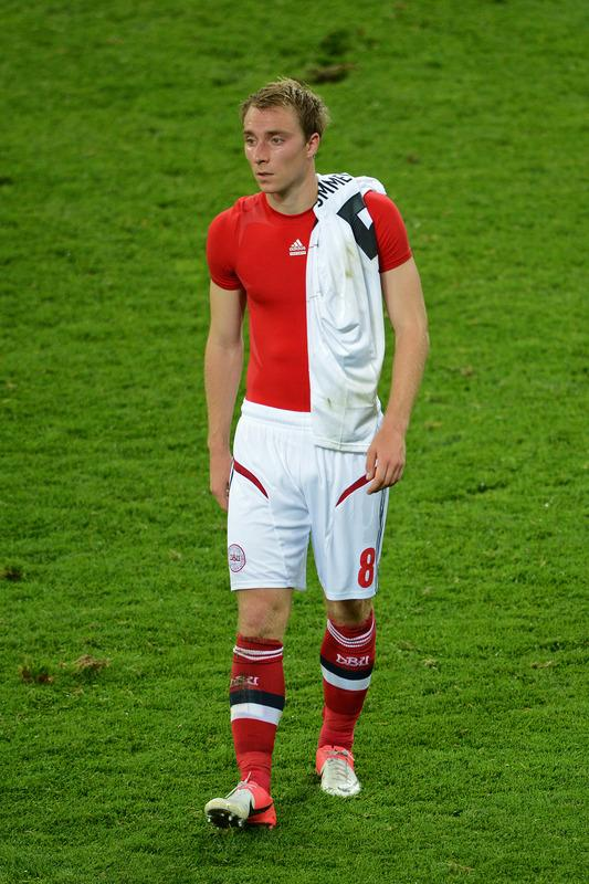 Danish midfielder Christian Eriksen reacts at the end of the Euro 2012 football championships match Denmark vs. Germany, on June 17, 2012 at the Arena Lviv in Lviv.  Germany won 2-1. Denmark is out of the competition.    AFP PHOTO / PATRIK STOLLARZPATRIK STOLLARZ/AFP/GettyImages