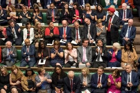 Britain's Labour MP Tanmanjeet Singh Dhesi gestures during Prime Minister's Questions session in the House of Commons in London