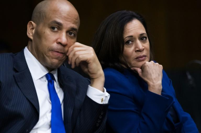 Senator Kamala Harris with Senator Cory Booker, who also sought the Democratic presidential nomination and described her as a 'trailblazer'