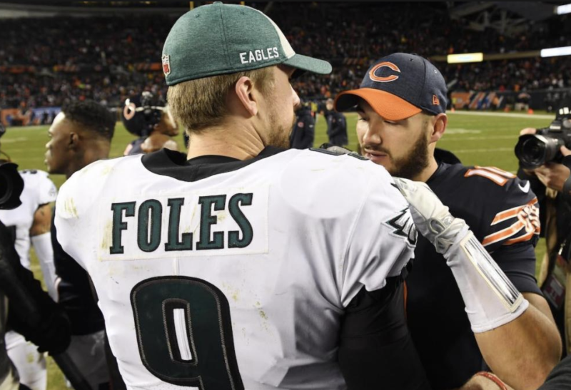 Nick Foles and Mitchell Trubisky have the same uniform now, but are still rivals. (Reuters)