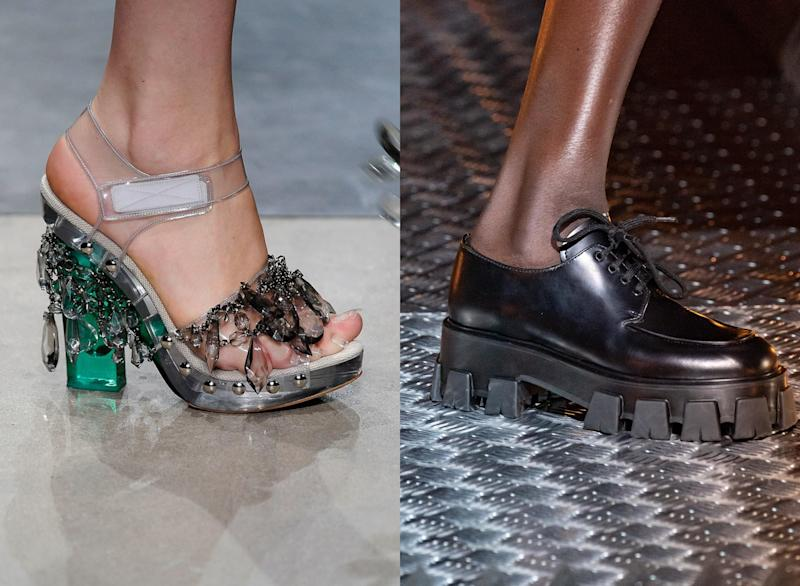 Shoes from Prada's Spring 2010 show; shoes from Prada's Fall 2019 show