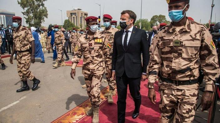 French President Emmanuel Macron and Mahamat Idriss Déby, son of late Chadian President Idriss Déby, attend his state funeral