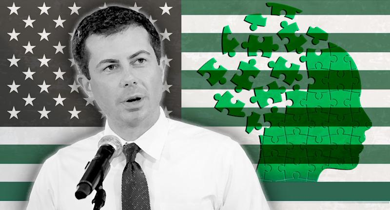 Pete Buttigieg and mental health policy. (Photo illustration: Yahoo News; photos: Mary Schwalm/AP, Getty Images, AP)