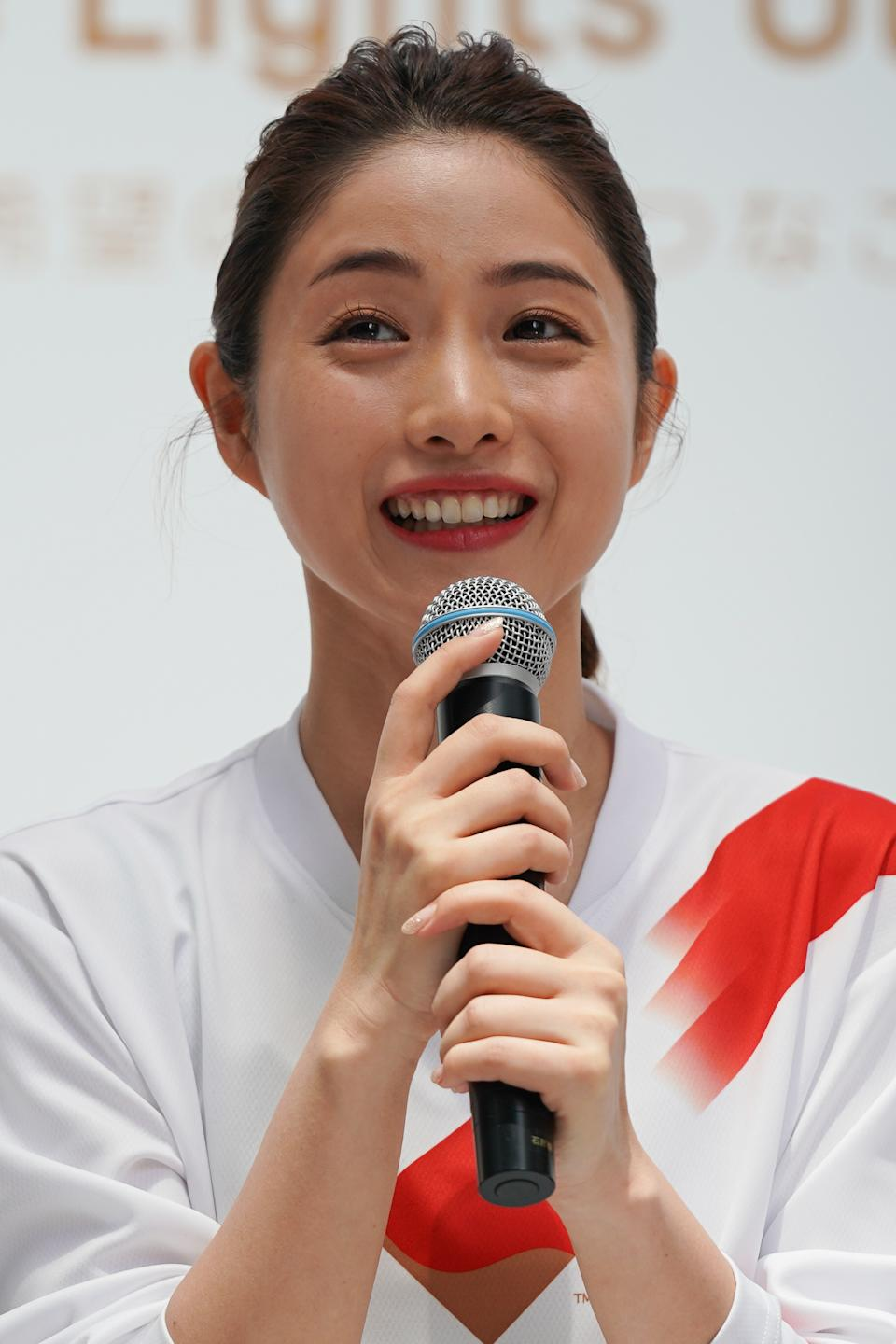 TOKYO, JAPAN - JUNE 01: Tokyo 2020 Torch Relay Official Ambassador Satomi Ishihara speaks during the Tokyo 2020 Torch Relay 300 Days To Go event at the Tokyo Midtown on June 01, 2019 in Tokyo, Japan. (Photo by Christopher Jue/Getty Images)