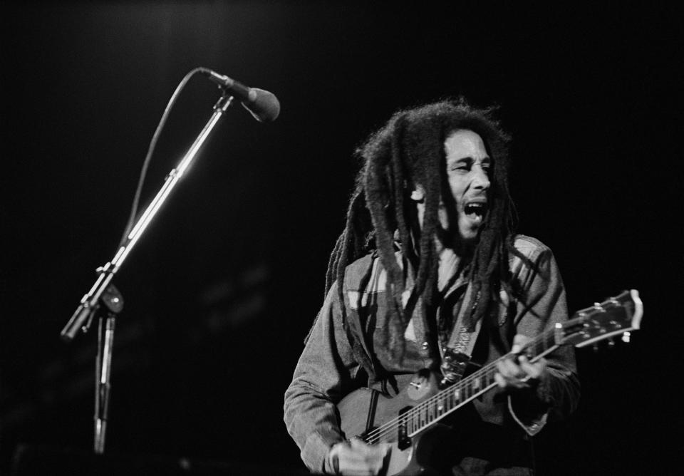 Bob Marley performs in Le Bourget, near Paris, during the last concert of his French tour. Attended by 50,000 fans, it is the biggest concert ever organized in France. (Photo by Jacques Pavlovsky/Sygma via Getty Images)