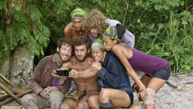 """Don't Say Anything About My Mom"" - John Cochran, Sherri Biethman, Edward ""Eddie"" Fox, Erik Reichenbach, Dawn Meehan and Brenda Lowe during the thirteenth episode of ""Survivor: Caramoan - Fans vs. Favorites."""