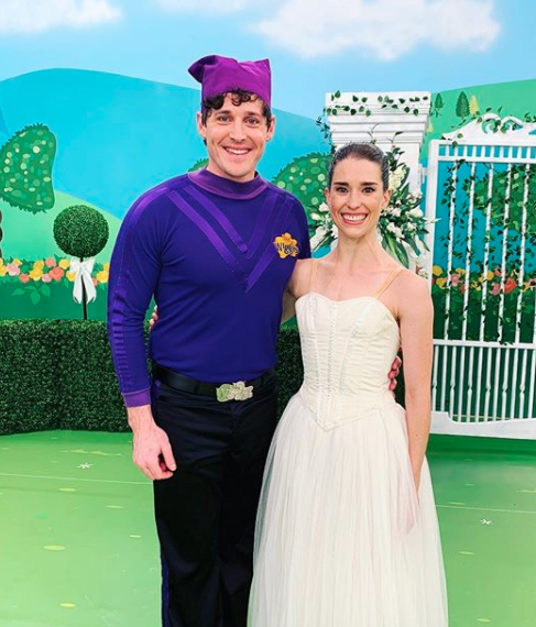 Purple Wiggle Lachlan and Dana Stephensen on the set of The Wiggles