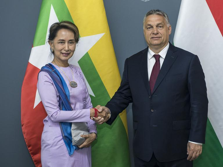 """Aung San Suu Kyi, the leader of Myanmar, and Hungary's far-right nationalist prime minister Viktor Orban both see immigration and """"continuously growing Muslim populations"""" as one of the greatest challenges facing their countries.As part of a rare trip to Europe, Ms Suu Kyi, who has been condemned for her handling of the Rohingya refugee crisis, met the Hungarian leader in Budapest on Wednesday.""""The two leaders highlighted that one of the greatest challenges at present for both countries and their respective regions – south-east Asia and Europe – is migration,"""" the Hungarian government said in a statement after the meeting.""""They noted that both regions have seen the emergence of the issue of co-existence with continuously growing Muslim populations.""""Mr Orban said Hungary was in favour of trade cooperation between Myanmar and the EU, but rejects """"attempts at the export of democracy"""".He said the bureaucrats in Brussels and the West """"seek to conflate unrelated issues such as economic cooperation and internal political questions"""", according to the statement.The far-right leader has repeatedly clashed with the EU over the issue of immigration after his government declared """"a crisis situation due to mass immigration"""" in 2015.Mr Orban has called for immigration be controlled by national governments, not EU bureaucrats, and says he will resist any EU-wide attempt to strip Hungary of its right to protect its borders.His government was accused of using anti-migrant rhetoric that fuels """"xenophobic attitudes, fear and hatred"""" in a report by the Council of Europe's commissioner for human rights.After his meeting with Myanmar's leader, Mr Orban said he had """"great respect for Aung San Suu Kyi and all she has done for her country's freedom and democratic transformation"""".Ms Suu Kyi was once lauded as a champion of democracy after being elected as civilian leader in 2015 following 15 years of house arrest for opposing Myanmar's military dictatorship. But she has since fallen from grac"""