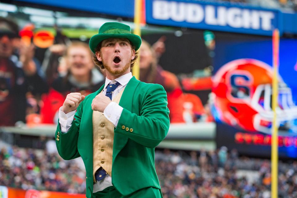 The Notre Dame Leprechaun cheers in the third quarter of the game between the Notre Dame Fighting Irish and the Syracuse Orange at MetLife Stadium. Notre Dame won 50-33.