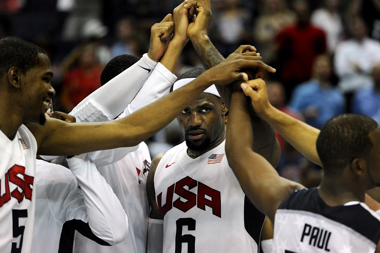WASHINGTON, DC - JULY 16: LeBron James #6 of the US Men's Senior National Team huddles up with teammates after defeating Brazil during a pre-Olympic exhibition basketball game at the Verizon Center on July 16, 2012 in Washington, DC. The US Senior Men's National Team won, 80-69. (Photo by Patrick Smith/Getty Images)