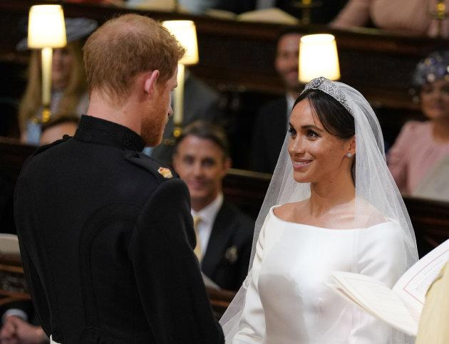 Prince Harry and Meghan Markle during their wedding service.