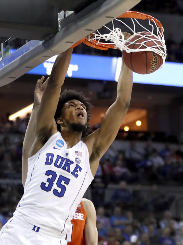 Duke's Marvin Bagley III dunks during the second half of a regional semifinal game against Syracuse in the NCAA men's college basketball tournament Friday, March 23, 2018, in Omaha, Neb. (AP Photo/Nati Harnik)