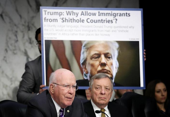 As Sen. Richard Durbin, D-Ill., right, looks on, Sen. Patrick Leahy, D-Vt., questions Homeland Security Secretary Kirstjen Nielsen during a hearing held by the Senate Judiciary Committee Jan. 16, 2018, in Washington, D.C. Leahy and Durbin both questioned Nielsen about derogatory language reportedly used by President Trump at a meeting last week on immigration. (Photo: Win McNamee/Getty Images)