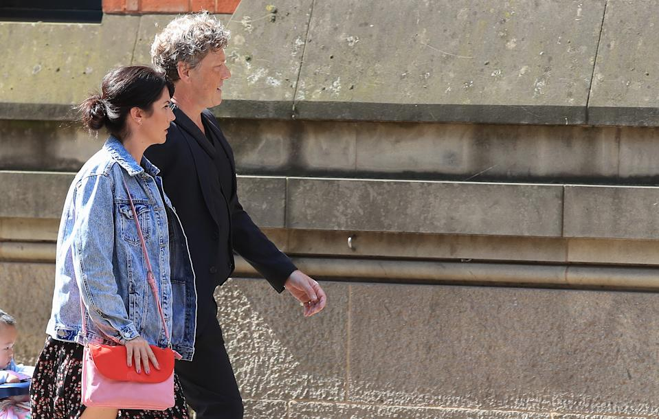 Emmerdale actor Mark Jordon and his partner Laura Norton arrive at Manchester Minshull Street Crown Court, where Jordon is charged with assault on a pensioner.