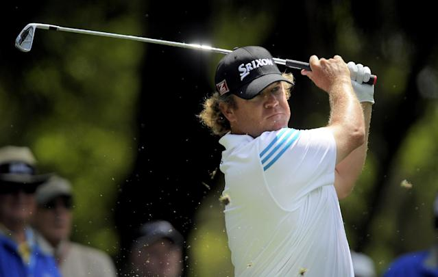 William McGirt watches his drive off the ninth tee during the first round of the RBC Heritage golf tournament in Hilton Head Island, S.C., Thursday, April 17, 2014. (AP Photo/Stephen B. Morton)