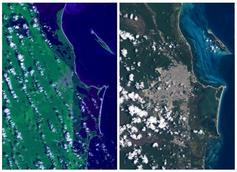 <p>The coastline of Cancun in Mexico is seen in a combination of NASA satellite images taken in 1988 (left) and in 2015.<i> (Photo: Reuters/NASA/Handout via Reuters)</i><br></p>