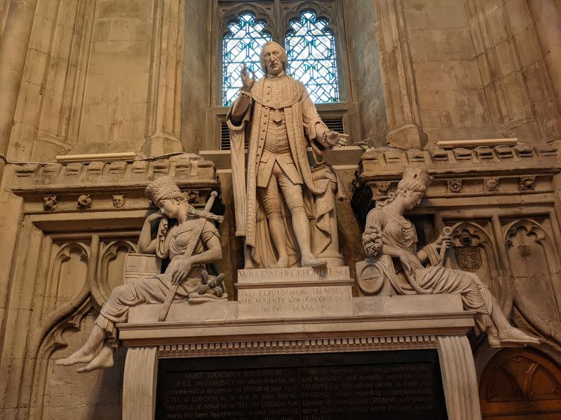 Statue of former twice Lord Mayor of London, William Beckford is seen in the Guildhall