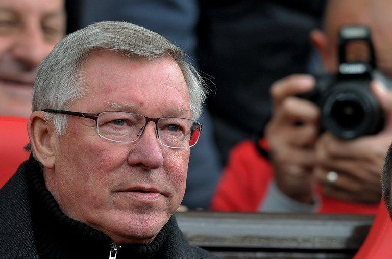 Sir Alex Ferguson pictured before the Premier League match with Swansea City at Old Trafford on May 6, 2012