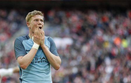 Britain Football Soccer - Arsenal v Manchester City - FA Cup Semi Final - Wembley Stadium - 23/4/17 Manchester City's Kevin De Bruyne looks dejected  Action Images via Reuters / Carl Recine Livepic